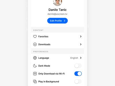 End User Profile Settings ⚙️ mobile ios clean ux ui preferences edit profile toggle edit icons settings profile