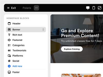Theme Customization customization customize menu design tool ux ui clean blocks sidebar homepage editor builder theme