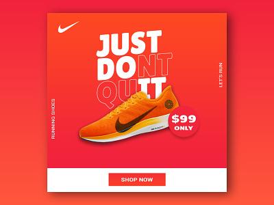 Nike sport shoes Instagram web banner || social media banner adobe photoshop graphic design adobe illustrator sneakers adidas nike banner ads banner ad shoe footwear branding design abstract vector web flyer typography sport
