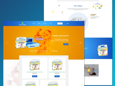 Savlon Twinkle Baby Diaper Landing Page brand diaper product landing page design ux ui