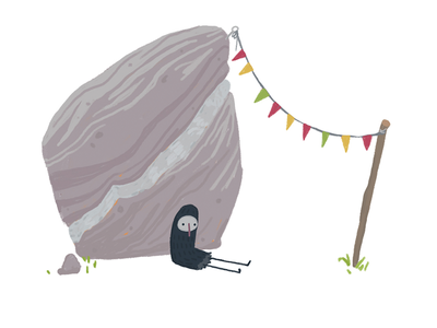 Lonely Birb lonely muted colors garland flags bunting rock illustration sketch sad cute
