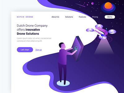 Drone Solution Landing Page uiux 2018 minimal drone trending ui ux webdesign landingpage