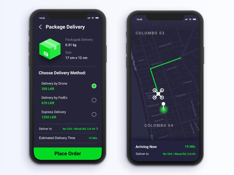 Drone Delivery App ux minimal ui animation gif drone drone delivery design 2019