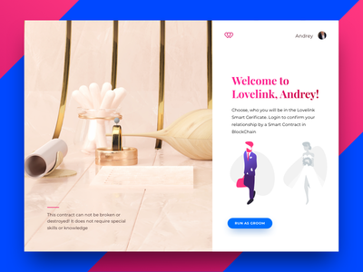 Lovelink #2 blockchain wedding color web ux ui render plates interface 3dmodel