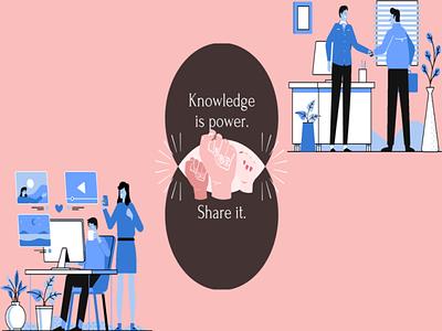 knowledge is power. share it. branding logo typography illustration icon design