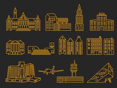 Groningen Icons icon groningen building line