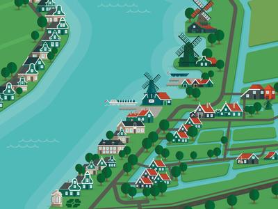 Zaanse schans map map plattegrond windmills holland