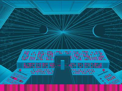 Light speed vector illustration header webdesign spaceship