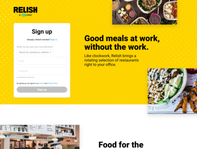 Relish Home Page homepage ezcater relish