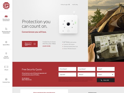 Protection you can count on website ui ux interactive home security site parallax tech technology modern clean