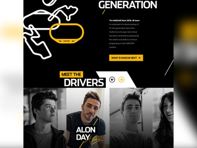 Fueling the Next Generation photography design website sports drivers cars racing nascar interactive ui ux web