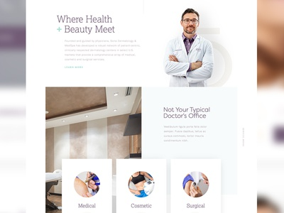 Health + Beauty clean white clinical minimal design layout ux health skincare mobile ui web