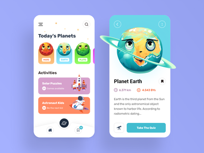 Educational Astronomy App Design For Kids space earth solar system planets astronaut educational kids app