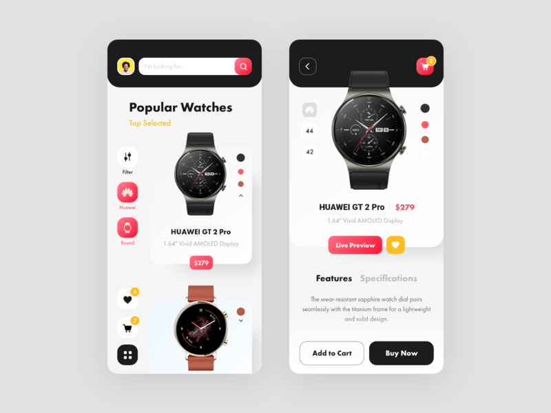 SmartWatch Ecommerce App Design ui watch design ecommerce ecommerce app huawei watch huawei store smart watch smartwatch