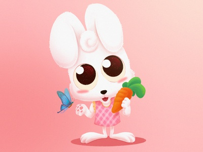 Cute Rabbit character illustration pink carrot butterfly rabbit