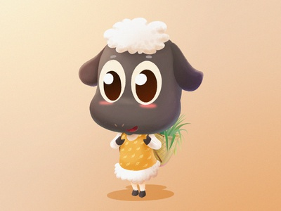 Black Face Sheep sheep basket yellow character gray grass cute animals illustration