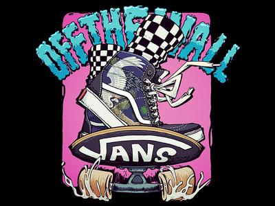 illustration offthewall sneakers crane pine pink skateboard vans