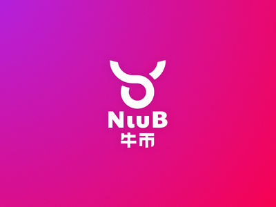 NiuB Logo animal bull cow dce exchange cryptocurrency blockchain technology design minimalism geometric brand logo