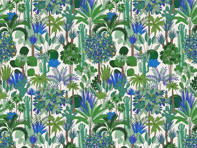 Oasis orange tree exotic tropical branding blue green illustration pattern summer palms oasis