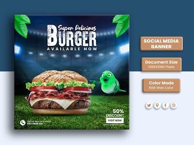 Social Media Burger Banner Design burger design ideas typography graphic design design