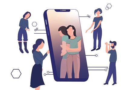 depression on the phone minimal app vector design illustration