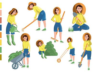 Girl in the garden ui app design illustration