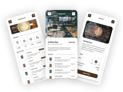 Coffee Restaurant Mobile App Concept design ui ux figma mobile app coffee coffee restaurant coffee restaurant mobile app restaurent inspiration mobile application brand design challenge creative clean
