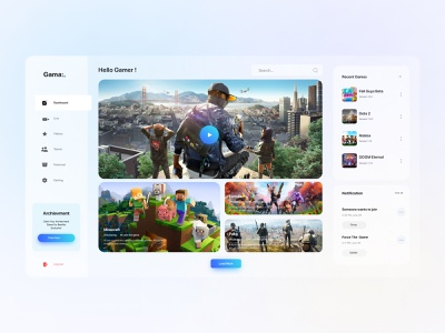 Dashboard Game Store ui interface game courses game game dashboard clean creative website figma ux ui design