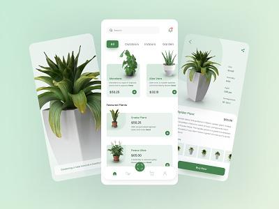 Plant Online Store App plant illustration clean website creative figma design ux ui