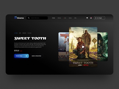 Movie, TV & Film Landing Page Design ott media service challenge dailyui clean web streaming movies cinema streaming service website creative figma design ux ui