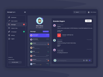 Messenger Dashboard ☁️ app website design ux ui dark ui dark dashboard message dashboard web app message chat dashboard chat