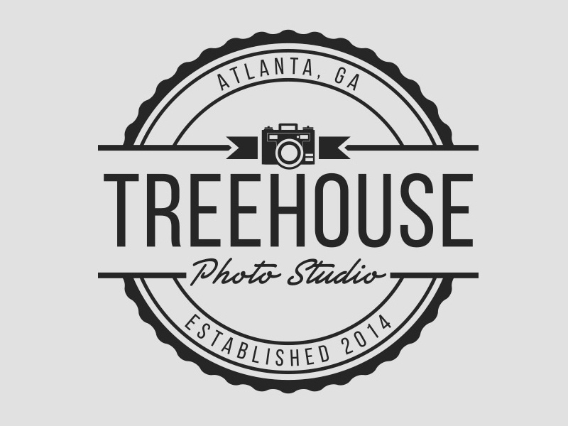 Treehouse Photo Studio badge retro photography atlanta logo design logo branding