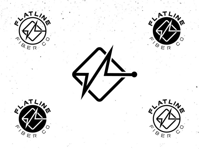 Flatline Fiber Co. simple mono-line logo design branding