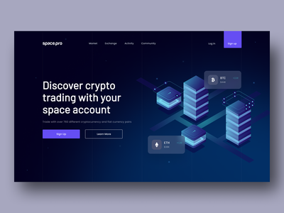 Space.Pro | Cryptocurrency Trading Website card trading bitcoin payment finance crypto bank invest design landing web website ux ui