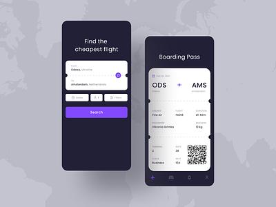 Flight Booking App layout clean dark design airline boarding pass boardingpass ticket travel flight booking ux ui app mobile