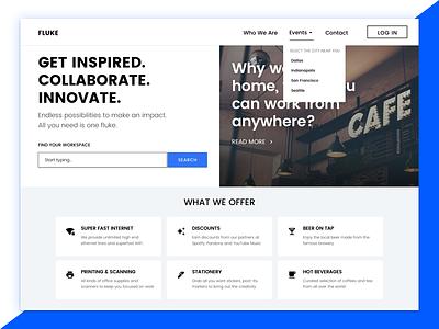 Landing Page - Fluke, a co-working space. desktop web bold sketch landing page dailyui