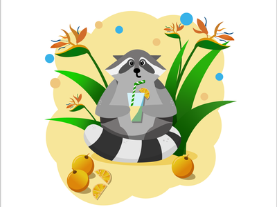 Raccon flat illustration flat juice raccoon illustration design funny emoticon character cartoon