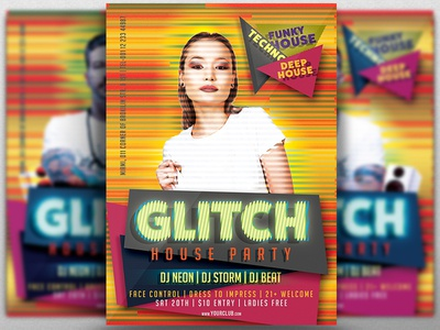 Glitch House Party Flyer Template By Georgi Petrov Dribbble