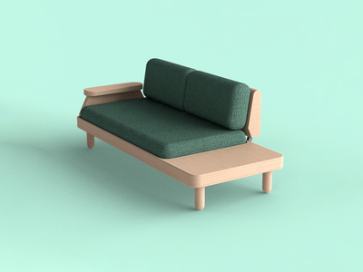 🛋️ Nobel. 2-seat lounge sofa sofa product render product designer product design modern furniture industrial design id furniture design design product concept design blender 3d 3d render