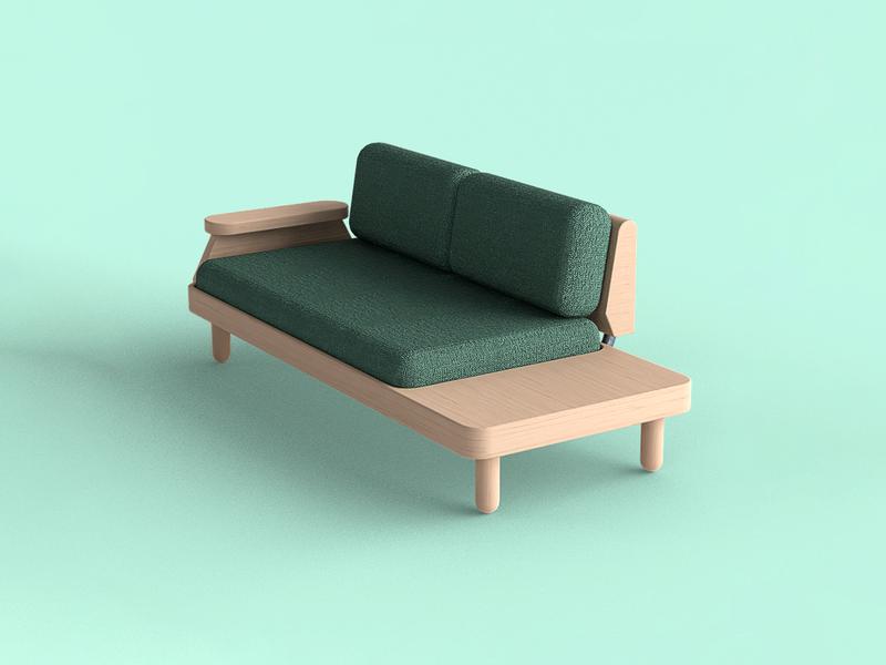 🛋️ Nobel. 2-seat lounge sofa sofa product render product designer product design modern furniture industrial design id furniture design design product concept design blender 3d 3d render