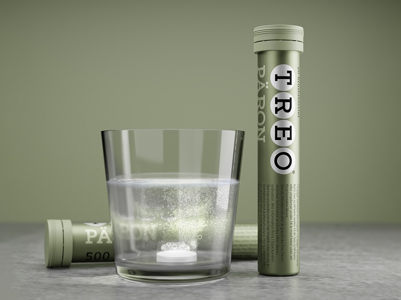 🍐 TREO® Päron concept product design packaging design product pear 3d modelling 3d render blender render cgi 3d medicine pain relief effervescent treo