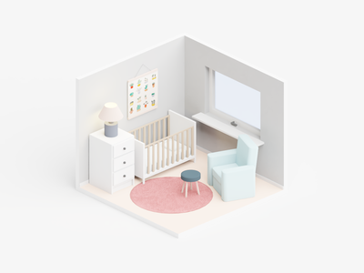👨👩👧Soon to be dad mother father crib illustration family love pregnant expecting child parents parent nursery bedroom baby room isometric room babyroom mom baby dad