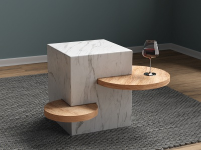 STABLE blender3d 3d render render marble table marble design concept interior design industrial design product design design table modular table coffeetable table