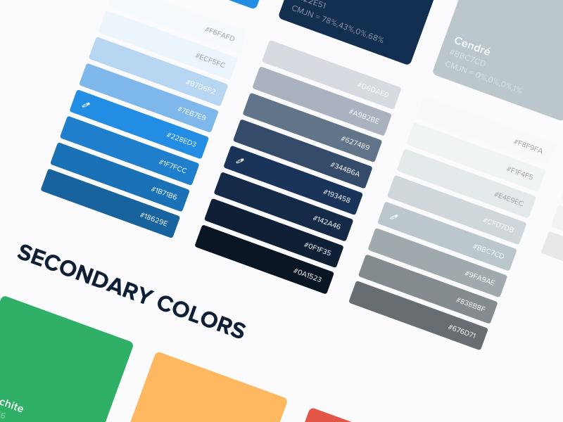 Design System - Colors color creative design interface material productdesign shadow sketch ui kit atomic