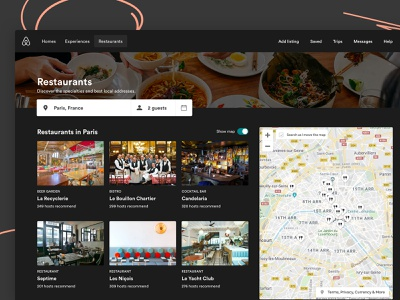 Airbnb Restaurant website branding icon picture logo ux web colors mockup illustration flat shadow productdesign material ui interface creative color sketch design