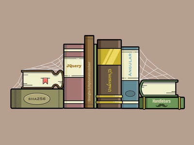 Old Javascript Libraries javascript library books book drawing line illustration vector badge logo icon flat