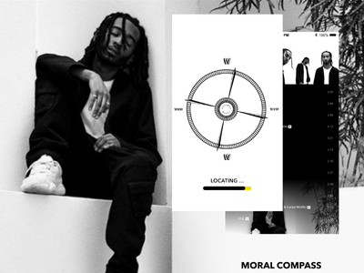 Miles Chancellor | Moral Compass Mobile App ui design bold compass mobile ux design interaction mobile app adobe xd music ui ux branding design