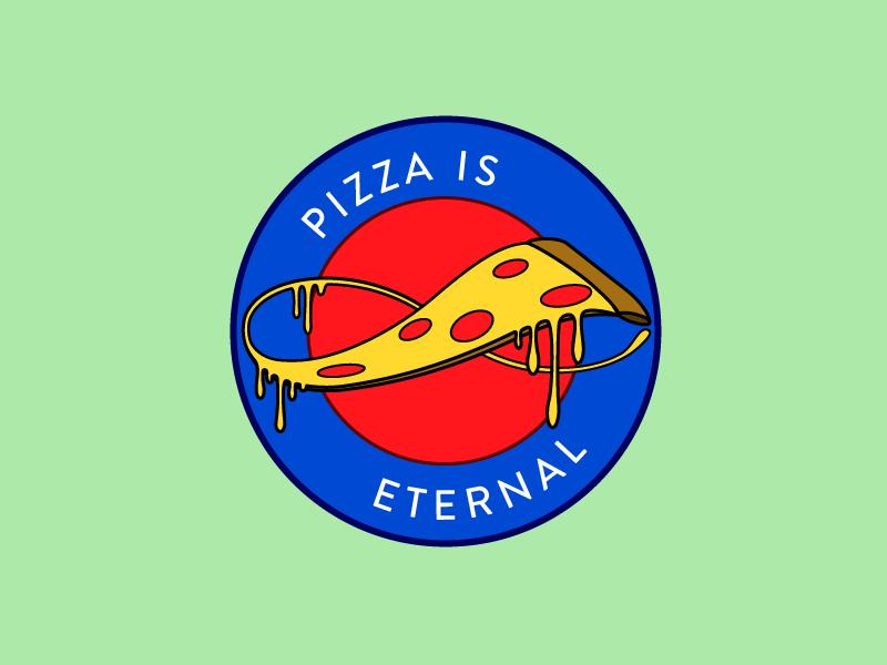 eternal pizza pin patch logo pizza illustration