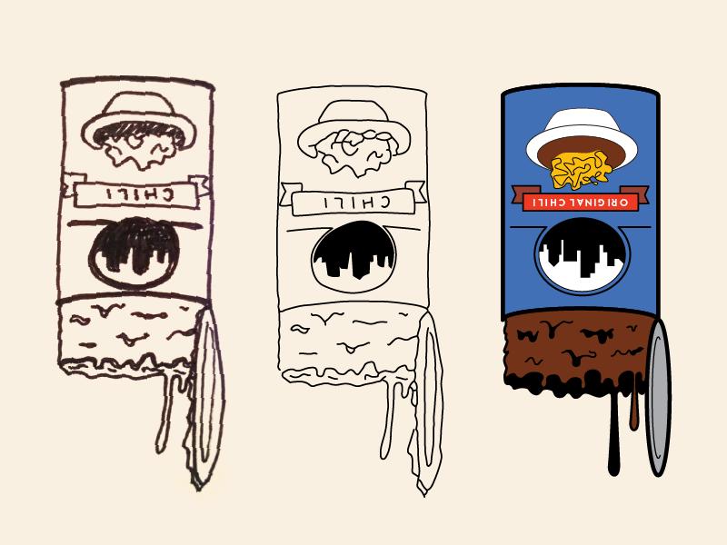 gotta get that fix gross food cincinnati chili vector illustration illustration skyline