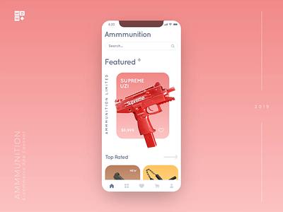 Luxury Gun Store App Concept e-commerce e-shop louis vuitton magnum victorias secret grenade supreme uzi ammunition ammo guns design 3d motion mobile ios ukraine clean animation app
